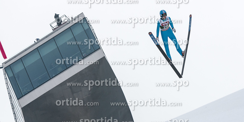 03.01.2015, Bergisel Schanze, Innsbruck, AUT, FIS Ski Sprung Weltcup, 63. Vierschanzentournee, Innsbruck, Training, im Bild Nico Polychronidis (GRE) // Nico Polychroidis of Greece soars through the air during a training session for the 63rd Four Hills Tournament of FIS Ski Jumping World Cup at the Bergisel Schanze in Innsbruck, Austria on 2015/01/03. EXPA Pictures © 2015, PhotoCredit: EXPA/ Jakob Gruber