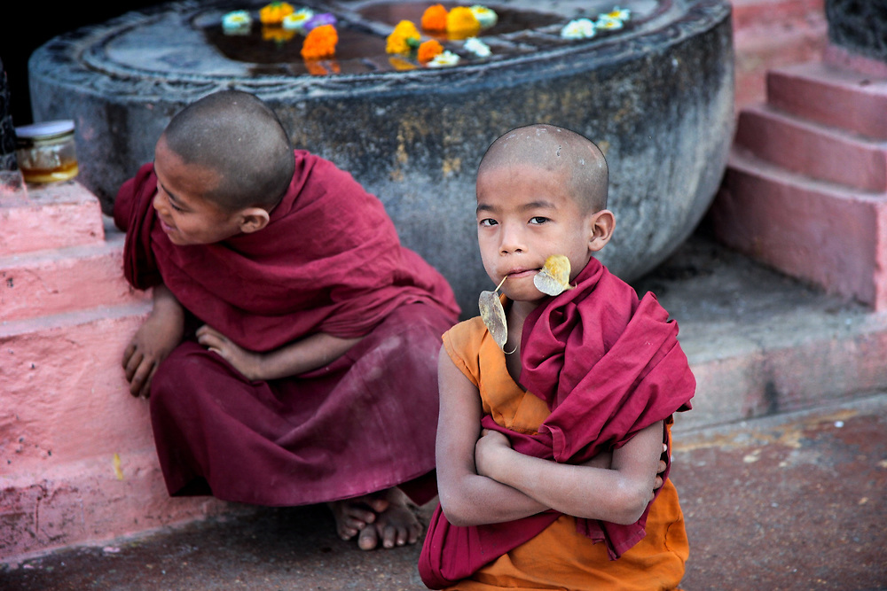 Samanera in Bodhgaya, India. In Pali lenguage, the word samanera, means 'small monk' or 'boy monk. Even if very young, they have to adopt part of the monastic code and study the canonical texts &quot;Vinaya&quot; in preparation for full ordination. <br />