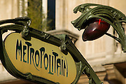 Metro entrance sign, Paris, France