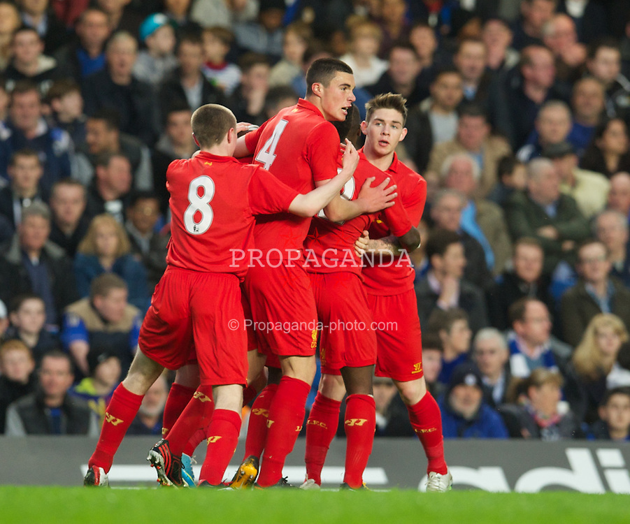 LONDON, ENGLAND - Friday, April 19, 2013: Liverpool players celebrate the opening goal against Chelsea during the FA Youth Cup Semi-Final 2nd Leg match at Stamford Bridge. (Pic by David Rawcliffe/Propaganda)