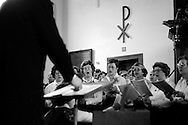 Zangvereniging Aurora during a concert in the NH Kerk (Dutch reformed Dutch) in Ammerstol, The Netherlands,1977.