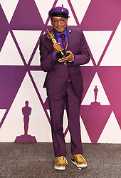 Spike Lee, winner of the Best Adapted Screenplay Award for BlacKkKlansman in the press room at the 91st Academy Awards held at the Dolby Theatre in Hollywood, Los Angeles, USA. Photo credit should read: Doug Peters/EMPICS.