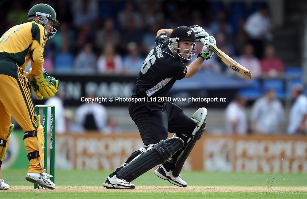 Shanan Stewart batting on debut for New Zealand.<br />4th one day international. New Zealand Black Caps versus Australia one day match.<br />Chappell Hadlee cricket series. Eden Park, Auckland, New Zealand. Thursday 11 March 2010. Photo: Andrew Cornaga/PHOTOSPORT
