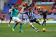 James McClean of Wigan Athletic looks to shoot. Skybet football league championship match , Wigan Athletic v Blackburn Rovers at the DW Stadium in Wigan, Lancs on Saturday 17th Jan 2015.<br /> pic by Chris Stading, Andrew Orchard sports photography.