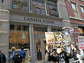 Protest outside the Canada Goose Store Protest-New York. NY. USA-December 23rd 2016