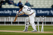 Yorkshire Alex Lees  is bowled by Warwickshire Rikki Clarke  during the Specsavers County Champ Div 1 match between Warwickshire County Cricket Club and Yorkshire County Cricket Club at Edgbaston, Birmingham, United Kingdom on 24 April 2016. Photo by Simon Davies.