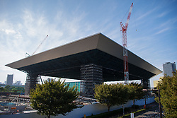 September 5, 2018 - Tokyo, JAPAN - 180905 Exterior view of the Olympic Aquatics Centre, arena to be used for swimming, diving and artistic swimming, during the first World Press Briefing for the 2020 Olympic Games on September 5, 2018 in Tokyo..Photo: Joel Marklund / BILDBYRN / kod JM / 87776 (Credit Image: © Joel Marklund/Bildbyran via ZUMA Press)