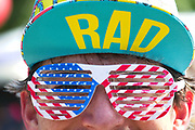 A man shows off his stars and stripes glasses during the annual Sullivan's Island Independence Day parade July 4, 2017 in Sullivan's Island, South Carolina. The tiny affluent sea island hosts a bicycle and golf cart parade through the historic village.