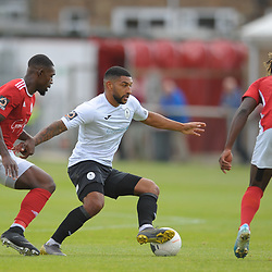 TELFORD COPYRIGHT MIKE SHERIDAN Ellis Deeney of Telford during the National League North fixture between Brackley Town and AFC Telford United at St James's Park on Saturday, September 7, 2019<br /> <br /> Picture credit: Mike Sheridan<br /> <br /> MS201920-016