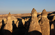 Fairy chimneys at Pasabag Valley or Monks' Valley, in Goreme National Park, near Goreme, in Nevsehir province, Cappadocia, Central Anatolia, Turkey. The rock formations here were made by erosion of the volcanic tuff created by ash from volcanic eruptions millions of years ago. Some of the chimneys in this valley were carved out to form hermitages for early christian monks. This area forms part of the Goreme National Park and the Rock Sites of Cappadocia UNESCO World Heritage Site. Picture by Manuel Cohen