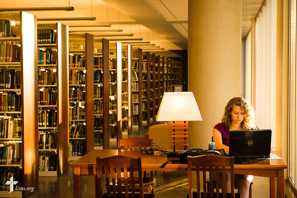 Kayla Perdue studies in the George R. White Library and Learning Center at Concordia University on Thursday, July 10, 2014,  in Portland, Ore. LCMS Communications/Erik M. Lunsford