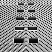 Black and white photograph of the Wells Fargo Center parking garage in Denver, Colorado.