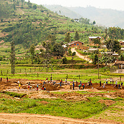 Workers dig in preparation for a new water supply system in rural Rulindo District, Rwanda.