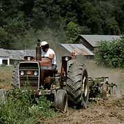 Farmer driving a tractor on an organic potato farm in Vermont