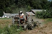 Farmer driving a tractor on an organic potato farm in Vermont