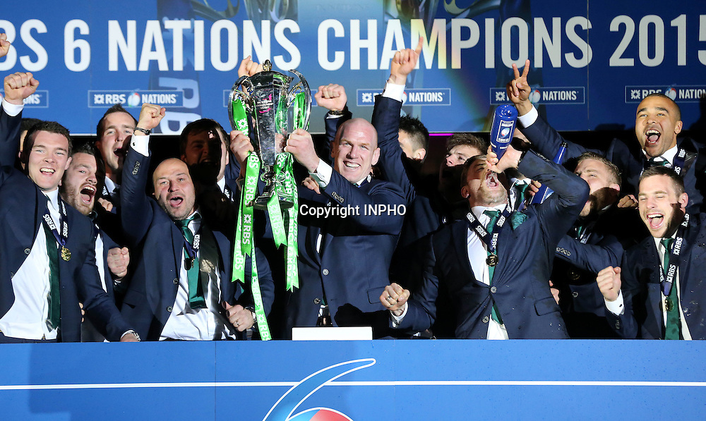 RBS 6 Nations Championship, BT Murrayfield, Edinburgh, Scotland 21/3/2015<br /> Scotland vs Ireland<br /> Ireland captain Paul O'Connell with the RBS 6 Nations trophy<br /> Mandatory Credit &copy;INPHO/Billy Stickland
