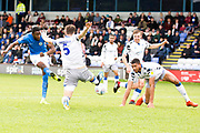 Macclesfield Town forward Arthur Gnahoua shot at goal during the EFL Sky Bet League 2 match between Macclesfield Town and Colchester United at Moss Rose, Macclesfield, United Kingdom on 28 September 2019.