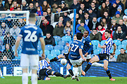 GOAL! Blackburn Rovers midfielder Lewis Travis (27) scores his team's second goal during the EFL Sky Bet Championship match between Sheffield Wednesday and Blackburn Rovers at Hillsborough, Sheffield, England on 18 January 2020.