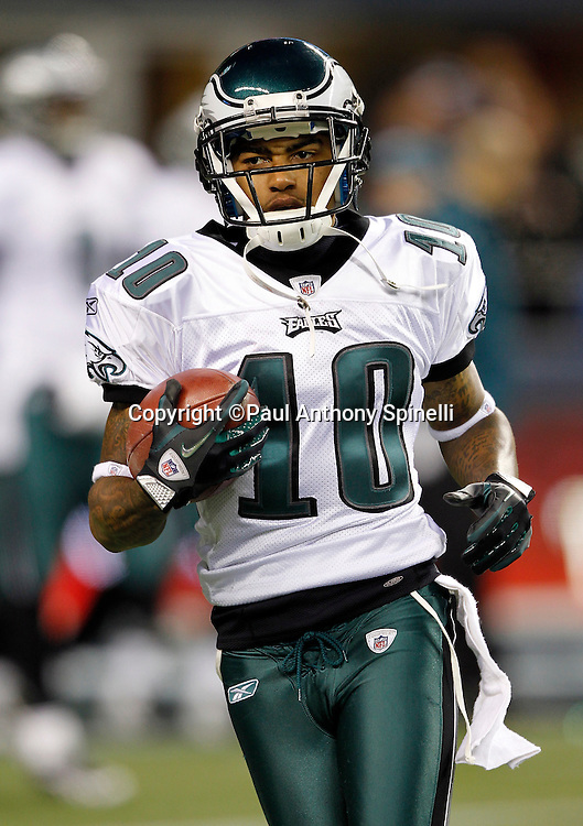 Philadelphia Eagles wide receiver DeSean Jackson (10) runs with the ball during pregame warmups during the NFL week 13 football game against the Seattle Seahawks on Thursday, December 1, 2011 in Seattle, Washington. The Seahawks won the game 31-14. ©Paul Anthony Spinelli