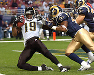Jacksonville Jaguars wide receiver Ernest Wilford (19) pulls down a tipped ball for a 20-yard touchdown in the second quarter at the Edward Jones Dome in St. Louis, Missouri, October 30, 2005.  The Rams beat the Jaguars 24-21.