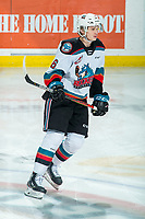 KELOWNA, BC - FEBRUARY 12: Kaedan Korczak #6 of the Kelowna Rockets warms up on the ice against the Tri-City Americans at Prospera Place on February 8, 2020 in Kelowna, Canada. Korczak was selected in the 2019 NHL entry draft by the Vegas Golden Knights. (Photo by Marissa Baecker/Shoot the Breeze)