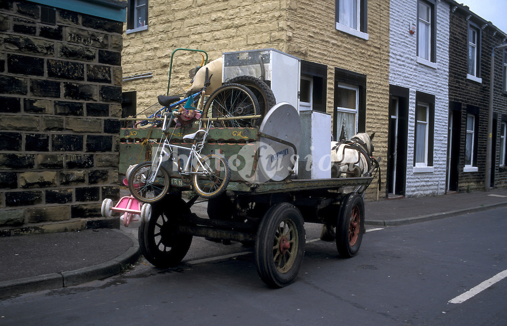 Rag and bone man collecting scrap; Burnley; Lancs