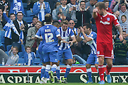 Brighton central midfielder, Dale Stephens celebrates his goal during the Sky Bet Championship match between Brighton and Hove Albion and Cardiff City at the American Express Community Stadium, Brighton and Hove, England on 3 October 2015. Photo by Phil Duncan.