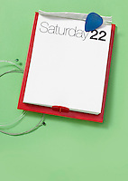 Saturday 22 calendar on green background