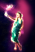 Digitally enhanced Greek Goddess in green toga
