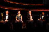 (from left) Fiction winner Chang-rae Lee (The Surrendered;) Richard C. Holbrooke Distinguished Achievement Award Winner Barbara Kingsolver; Award for Scholarship recipient Professor Nigel Young for his role as editor of The Oxford International Encyclopedia of Peace and nonfiction winner Wilbert Rideau (In the Place of Justice.) before the 2011 Dayton Literary Peace Prize dinner and awards presentation at the Schuster Center in downtown Dayton, Sunday, November 13, 2011..