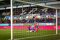 1. divisjon fotball 2018: Aalesund - Tromsdalen. Torbjørn Agdestein setter inn 1-0 forbi keeper Marius Berntzen i førstedivisjonskampen i fotball mellom Aalesund og Tromsdalen på Color Line Stadion.
