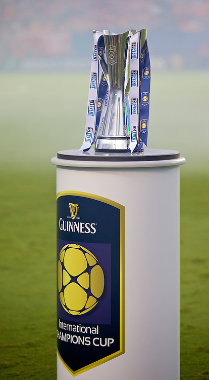 MIAMI, USA - Monday, August 4, 2014: The trophy before the International Champions Cup Final match at the SunLife Stadium on day fifteen of the club's USA Tour. (Pic by David Rawcliffe/Propaganda)