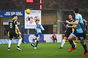 Wycombe Wanderers Midfielder Dominic Gape (4) puts the ball through to Wycombe Wanderers Midfielder Matthew Bloomfield (10) during the EFL Sky Bet League 2 match between Wycombe Wanderers and Carlisle United at Adams Park, High Wycombe, England on 3 February 2018. Picture by Stephen Wright.