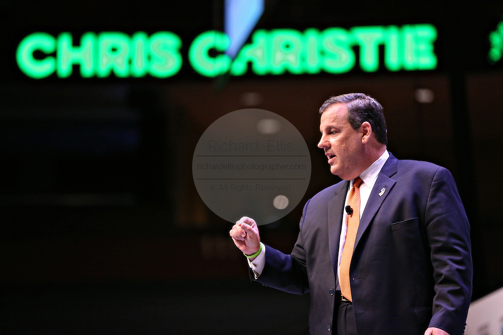 Republican presidential candidate Gov. Chris Christie speaks during the Heritage Foundation Take Back America candidate forum September 18, 2015 in Greenville, South Carolina. The event features 11 presidential candidates but Trump unexpectedly cancelled at the last minute.
