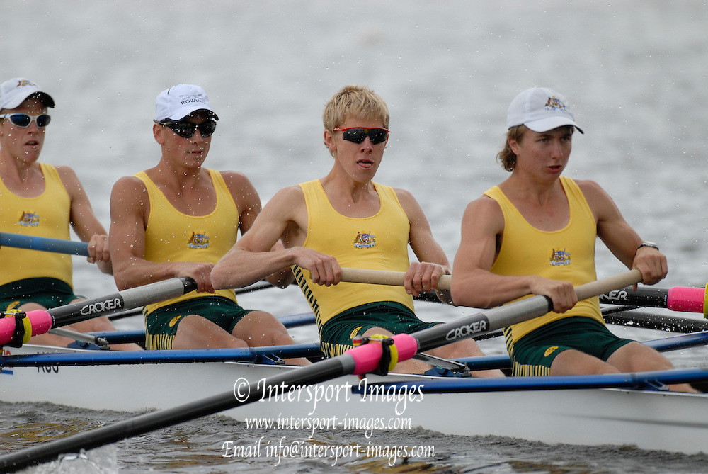Motherwell, SCOTLAND. AUS BLM4-,Bow Thomas BERTRAND, Maxwell SONDERMEYER, Cameron GIRDLESTONE and Jonotham HOOKWAY, at the  2007 FISA U23 World Championship Regatta, Strathclyde Country Park, North Lanarkshire 26/07/2007 [Mandatory credit Peter Spurrier/ Intersport Images]