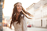 Hippie, Women, Tousled Hair, Blowing, Wind, Cheerful, Headband,