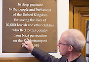 Kinderstransport plaque in Parliament, Westminster, London, Great Britain <br /> 27th January 2017 <br /> <br /> Chief Rabbi and Archbishop of Canterbury to mark Holocaust Memorial Day with Lord Dubs at rededication of Kindertransport plaque in Parliament<br />  <br /> 20 years ago the Committee of the Reunion of the Kindertransport donated a plaque to Parliament commemorating Britain&rsquo;s act of generosity to Jewish children in Nazi-occupied Europe. On Holocaust Memorial Day [27 January 2017], the plaque will be rededicated in the presence of newly arrived child refugees who were reunited with their families from Calais last year by Safe Passage, a project of Citizens UK. <br />  <br /> The ceremony will be particularly poignant as it will be attended by Lord Dubs, himself a Kindertransport survivor, who passed an amendment to the Immigration Act last year, with the Government's support, affording sanctuary in the UK to some of the most vulnerable lone child refugees in Europe.<br />  <br /> <br /> Archbishop of Canterbury, Justin Welby, <br /> <br /> <br /> <br /> <br /> Photograph by Elliott Franks
