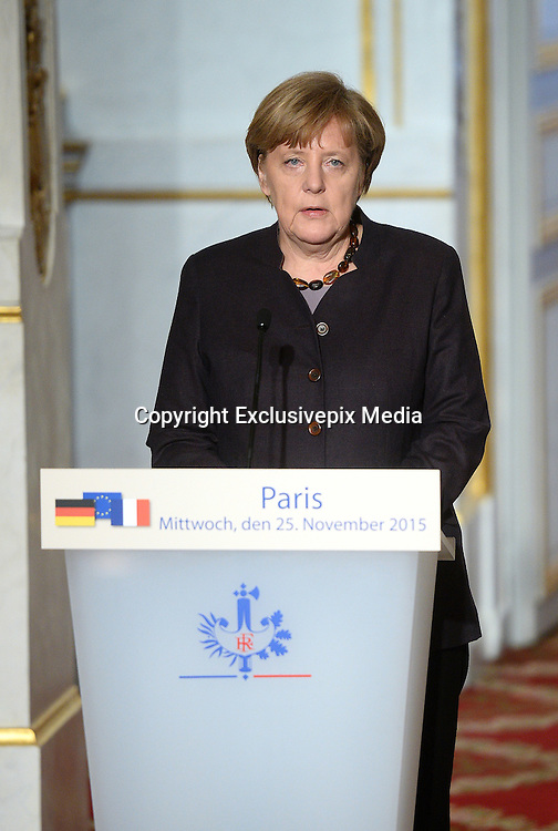 FRANCOIS HOLLAND - THE PRESIDENT FRANCOIS HOLLAND Angela Merkel Speak to the press FOLLOWING THE ATTACKS OF 13 NOVEMBER IN PARIS<br /> ©Exclusivepix Media
