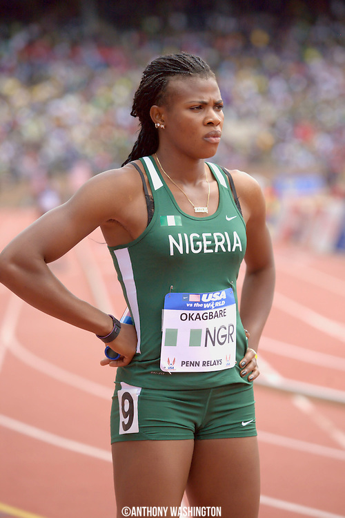 Blessing Okagbare of Nigeria stands in her lane proceeding the start of the USA vs. the World Women Sprint Medley at the Penn Relays athletic meet on Saturday, April 30, 2011 in Philadelphia, PA.<br />