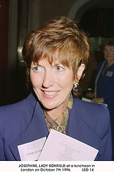JOSEPHINE, LADY BONFIELD at a luncheon in London on October 7th 1996.          <br /> LSO 14