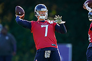 Blaine Gabbert QB (7) throwing the ball during the Tennessee Titans pre-match press conference at Syon House, Brentford, United Kingdom on 19 October 2018.