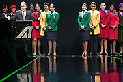 James Hogan, President and CEO of Etihad Aviation Group, speaks at Alitalia Day, in Milan, May 19, 2016. Behind him the hostesses of the Airways Partners of Etihad Airways.  &copy; Carlo Cerchioli<br /> <br /> James Hogan, Presidente e Amministratore delegato di Etihad Aviation Group, parla all'evento Alitalia Day, Milano 19 Maggio 2016. Alle sue spalle le hostess dell linee aere partner di Etihad.