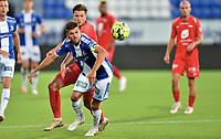 Fotball , 02. juli 2020 , Eliteserien  ,  Sarpsborg - Brann<br /> Erlend Hustad  , Brann <br /> Joachim Thomassen , S08