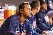 Aaron Hicks #32 of the Minnesota Twins looks on from the dugout after hitting his 2nd home run of the game against the Chicago White Sox on May 13, 2013 at Target Field in Minneapolis, Minnesota.  The Twins defeated the White Sox 10 to 3.  Photo: Ben Krause