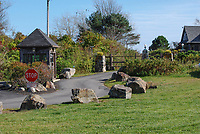 Security post at the entrance to the Bush Compound, Kennebunkport, on the Atlantic Coast of Maine, USA. It is the summer home of George Bush, 41st president  of the USA. He inherited it on the death of his parents. His son, George W Bush, 43rd president, visits the compound several times a year with his family. 201110115182.<br /> <br /> Copyright Image from Victor Patterson, 54 Dorchester Park, Belfast, UK, BT9 6RJ<br /> <br /> t1: +44 28 9066 1296 (from Rep of Ireland 048 9066 1296)<br /> t2: +44 28 9002 2446 (from Rep of Ireland 048 9002 2446)<br /> m: +44 7802 353836<br /> <br /> victorpatterson@me.com<br /> www.victorpatterson.com<br /> <br /> Please see my Terms and Conditions of Use at victorpatterson.com . It is IMPORTANT that you familiarise yourself with them.<br /> <br /> Images used on the Internet incur an additional cost and must be visibly watermarked i.e. ©Victor Patterson within the body of the image and copyright metadata must not be deleted. Images used on the Internet have a size restriction of 4kbs and are chargeable at rates available at victorpatterson.com.<br /> <br /> This image is only available for the use of the download recipient i.e. television station, newspaper, magazine, book publisher, etc, and must not be passed on to any third party. It is also downloaded on condition that each and every usage is notified within 7 days to victorpatterson@me.com<br /> <br /> The right of Victor Patterson to be identified as the author is asserted in accordance with The Copyright Designs And Patents Act (1988). All moral rights are asserted.