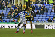 Reading Sone Aluko (14) battles with  Sheffield Wednesday Morgan Fox (6) during the EFL Sky Bet Championship match between Reading and Sheffield Wednesday at the Madejski Stadium, Reading, England on 25 November 2017. Photo by Gary Learmonth.
