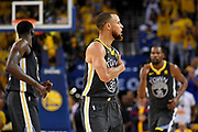 June 3, 2018; Oakland, CA, USA; Golden State Warriors guard Stephen Curry (30) reacts after a play during the second quarter against the Cleveland Cavaliers in game two of the 2018 NBA Finals at Oracle Arena.