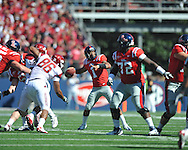 Ole Miss quarterback Randall Mackey (1) vs. Arkansas at Vaught-Hemingway Stadium in Oxford, Miss. on Saturday, October 22, 2011. .