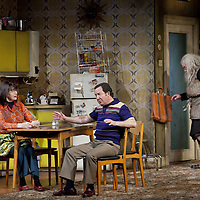 Maureen Beattie, Jonathan Watson  and Gregor Fisher as the granny.<br /> <br /> <br /> Yer Granny - a new production by The National Theatre of Scotland opens at the Beacon arts Centre, Greenock, Scotland.<br /> <br /> <br /> Based on La Nona by Roberto Cossa<br /> In a new version by Douglas Maxwell<br /> Directed by Graham McLaren<br /> <br /> <br /> Picture by Drew Farrell<br /> Tel : 07721-735041<br /> Image offered on a speculative basis.<br /> <br /> Yer Granny is a riotous new comedy about a diabolical 100-year-old granny who&rsquo;s literally eating her family out of house and home. She&rsquo;s already eaten their fish and chip shop into bankruptcy and now she&rsquo;s working her way through their kitchen cupboards, pushing the Russo family to desperate measures just to survive beyond 1977.<br /> <br /> As proud head of the family, Cammy is determined that The Minerva Fish Bar will rise again and that family honour will be restored &ndash; and all in time for the Queen&rsquo;s upcoming Jubilee visit. But before Cammy&rsquo;s dream can come true and before Her Maj can pop in for a chat, a single sausage and a royal seal of approval, the family members must ask themselves how far they will go to solve a problem like Yer Granny.<br /> <br /> Adapted from the smash-hit Argentinian comedy classic La Nona, the cast of Yer Granny features some of Scotland&rsquo;s best-loved performers, including Gregor Fisher in the title role, alongside Paul Riley (Still Game), Jonathan Watson (Only An Excuse?), Maureen Beattie (Casualty), Barbara Rafferty (Rab C Nesbitt), Brian Pettifer (The Musketeers) and Louise McCarthy (Mamma Mia!, West End).<br /> <br /> Performance dates :<br /> The Beacon Arts Centre, Greenock<br /> 19/05/2015&nbsp;-&nbsp;21/05/2015 <br /> <br /> King's Theatre, Glasgow<br /> 26/05/2015&nbsp;-&nbsp;30/05/2015 <br /> <br /> King's Theatre, Edinburgh<br /> 02/06/2015&nbsp;-&nbsp;06/06/2015 <br /> <br /> Eden Court, Inverness<br /> <br /> Lyric Theatre, Belfa