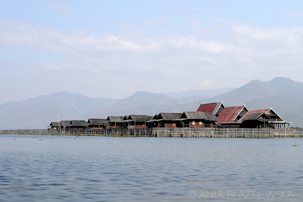 Myanmar, Inle Lake. Not only Intha villages, but also hotels are built in the water of Inle Lake.